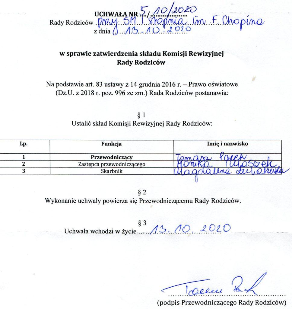 Uchwała nr 5,10/2020 w sprawie  zatwierdzenia składu komisji rewizyjnej Rady Rodziców